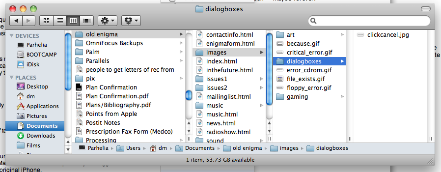 column view in OS X