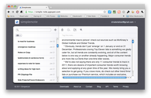 simplenote web interface