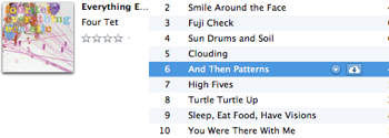 iCloud icon appears in the track listing