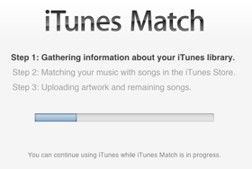 iTunes Match looking through an iTunes library